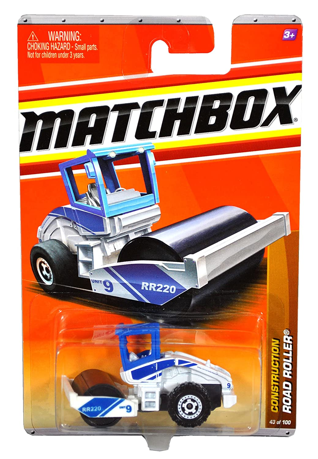 Mattel Year 2010 Matchbox MBX Construction Series 1:64 Scale Die Cast Car 43 - White and Blue Color Unit 9 ROAD ROLLER by Matchbox
