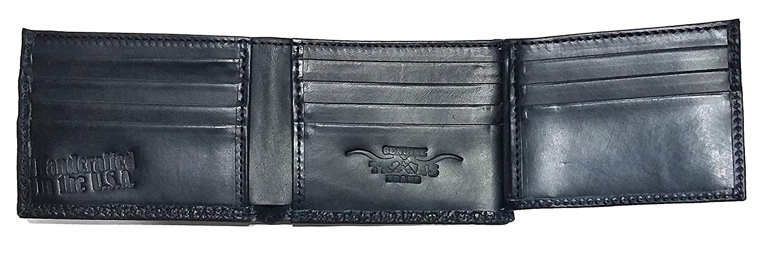 Custom Shriner Concho on a Rugged American Buffalo Black Leather Flip ID Bi-fold Wallet Proudly made in the USA.