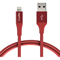 AmazonBasics L6LMF127-CS-R Apple Certified Lightning to USB Charge and Sync Extra Tough Cable, 3 Feet (0.9 Meters) - Red