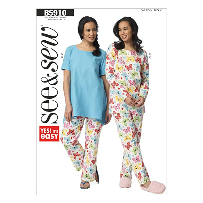 BUTTERICK PATTERNS B5910 Misses' Top and Pants Sewing Template, Size A in One Envelope