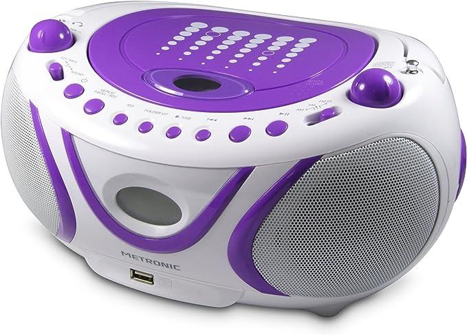 Metronic 477112 Mp3 Radio Boombox Cd Player Usb Lila Heimkino Tv Video
