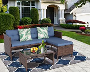 HTTH 3 Pieces Patio Furniture Sets Outdoor Sectional Sofa Sectional Lounge Chaise Rattan Loveseat and Couch Cushions with Glass Table for Home, Garden, Poolside, Lawn and Backyard (Attractive Navy)