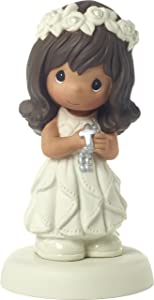 Precious Moments 172081 May His Light Shine in Your Heart Today & Always Brunette Hair Girl with Medium Skin Tone First Communion Bisque Porcelain Figurine, One Size, Multi