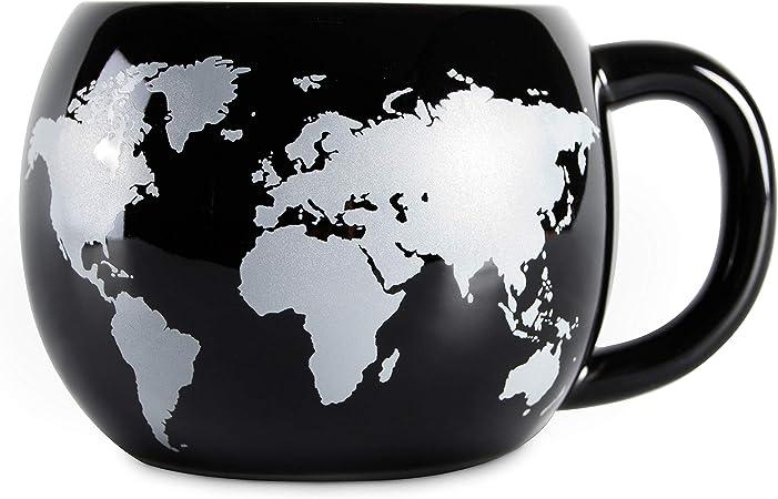 bons plans 2017 mode de premier ordre lisse el & groove 3D Globe Cup en Noir, Tasse à thé 250 ML (300 ML Pleine à Ras  Bord), Tasse à café en Porcelaine, Carte du Monde Worldmap Atlas ...