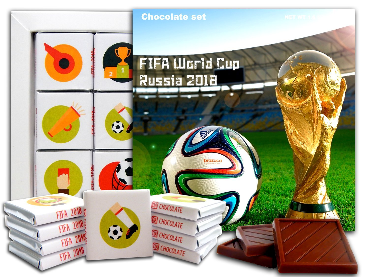 b158f4d4835 Amazon.com   DA CHOCOLATE Candy Souvenir FIFA WORLD CUP RUSSIA 2018  Chocolate Gift Set 5x5in 1 box (Cup)   Grocery   Gourmet Food