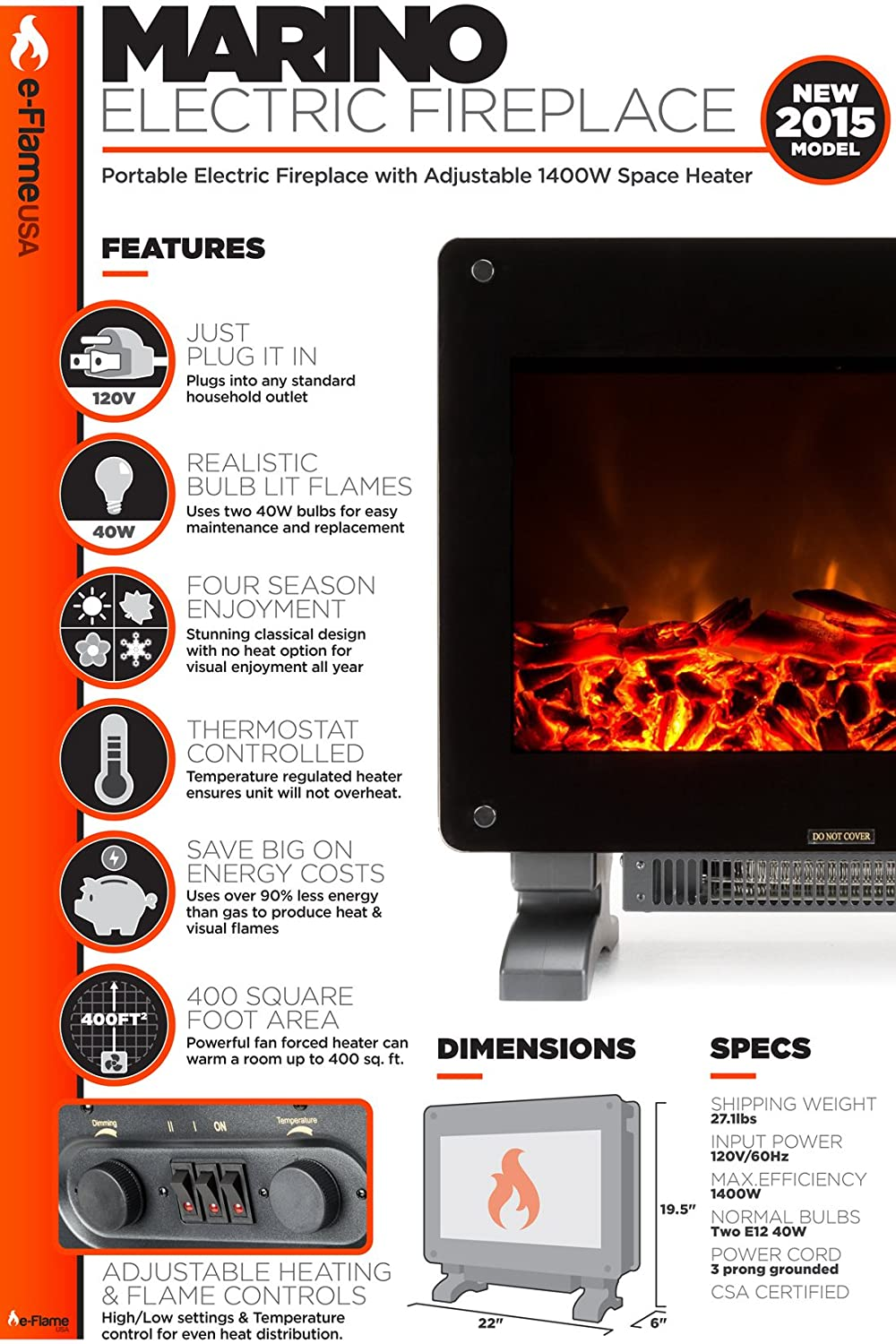 amazon com marino electric fireplace space heater home u0026 kitchen