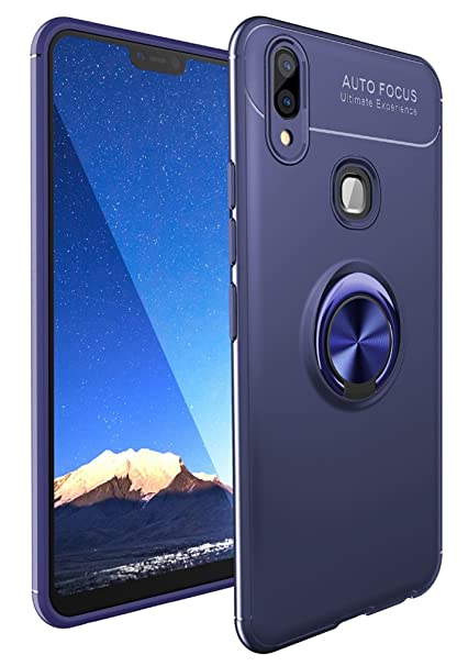 timeless design 436a7 2e3d9 Bounceback ® Vivo V11 (with Finger Print Hole) Back Case Cover Shock Proof  Ring Stand Back Cover for Vivo V11 - Jet Blue