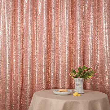 Non-Transparent Gold Poise3EHome 8FT x 8FT Sequin Photography Backdrop Curtain for Party Decoration