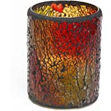 Give U Wine Rot Mosaic Glas Mit flammenlose LED Kerze mit Timer,2xAA batteriebetrieben,8,3x10,2 cm (3,25x4 Zoll),Batteriebetriebene Kerze, Elektrische Kerze, Tischkerze, Leuchter, Kronleuchter, Tischleuchter