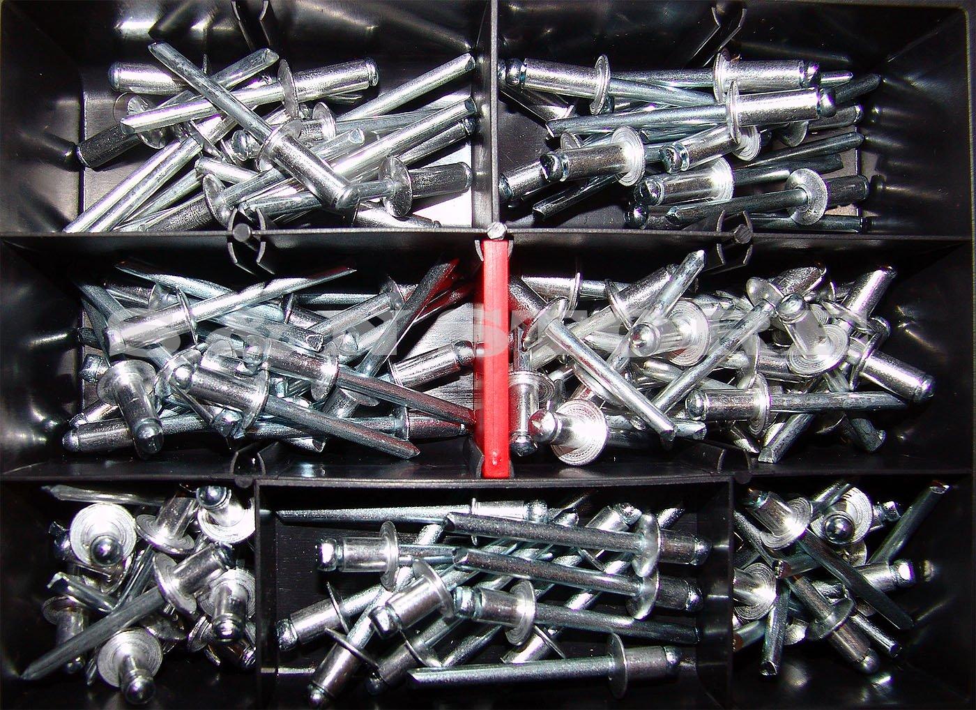 Blindnieten-Sortiment Ø 6mm verschiedene Längen 125 Teile Alu/ Stahl Din 7337 Popnieten S&N Store