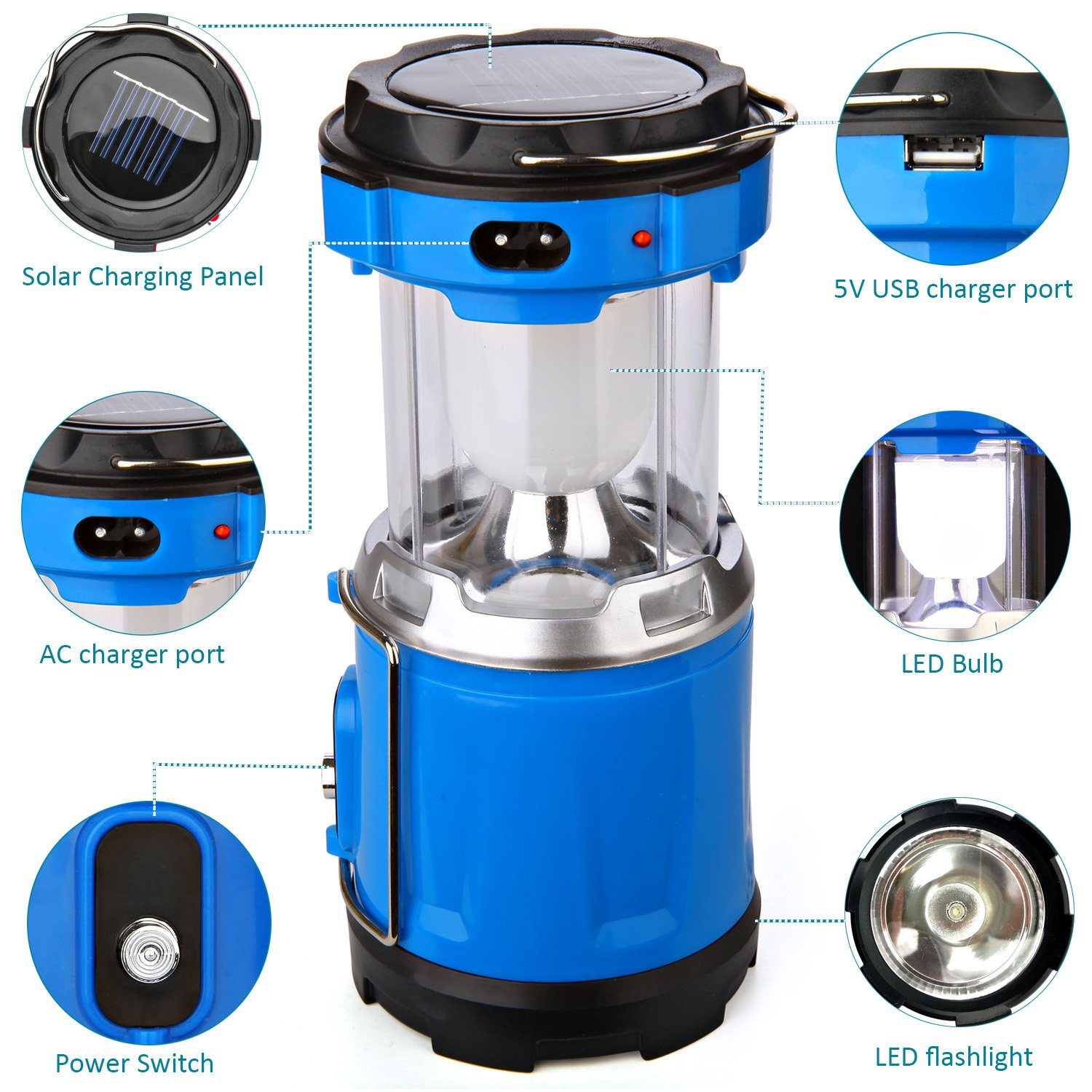 Camping Lantern Light, IRuiYinGo Rechargeable Lamp Solar LED Flashlight with Hanging Blue Color, Great light for Camping/ Hiking/ Backpacking...Outdoor Activities by IRuiYinGo (Image #3)
