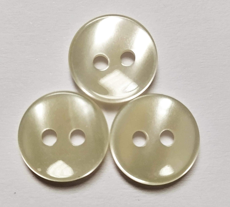50 Botones de nacar para camisas de 1 cmt. de diamétro, color crudo de 2 agujeros - FABRICADO Y ENVIADO desde España