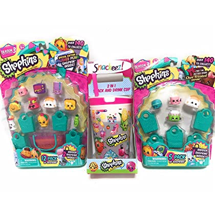 TXYS Shopkins Bundle Season 3 Characters And Snack Drink Cup