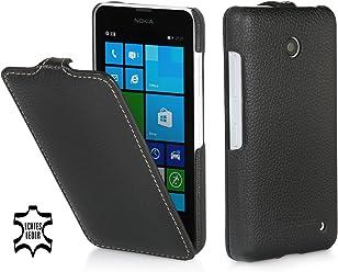 StilGut Housse UltraSlim en cuir pour Nokia Lumia 630 & Lumia 630 Double SIM, en noir