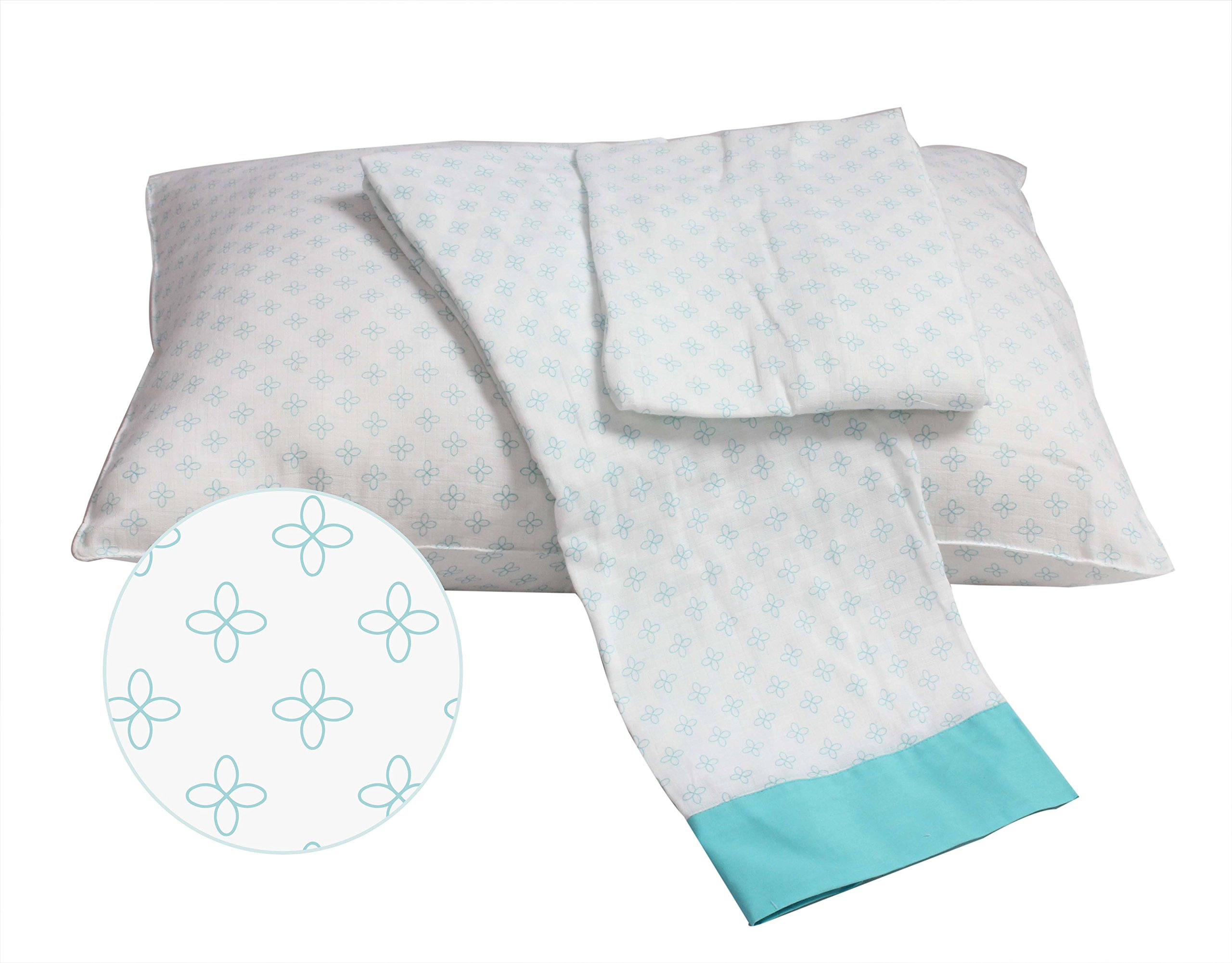Bacati Petals Muslin 3 Piece Toddler Bedding Sheet Set, Aqua