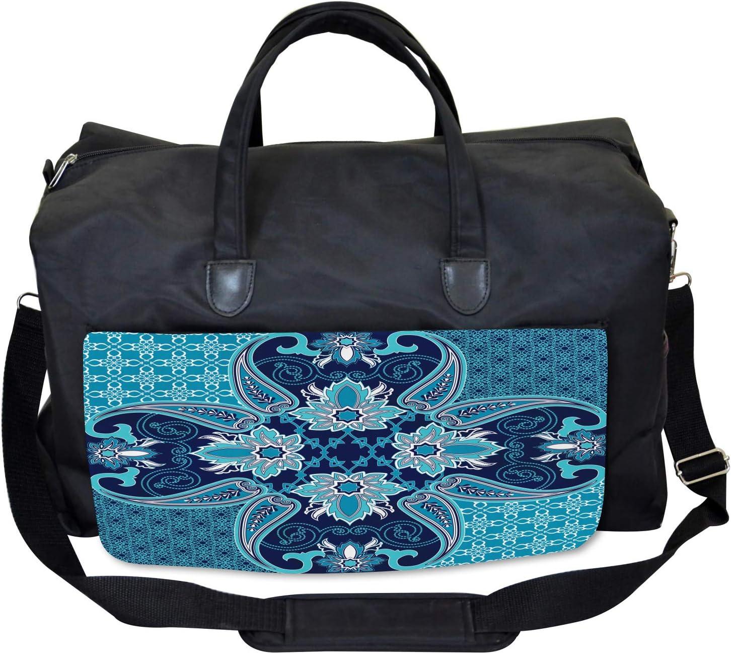 Floral Paisley Bohemic Large Weekender Carry-on Ambesonne Vintage Gym Bag
