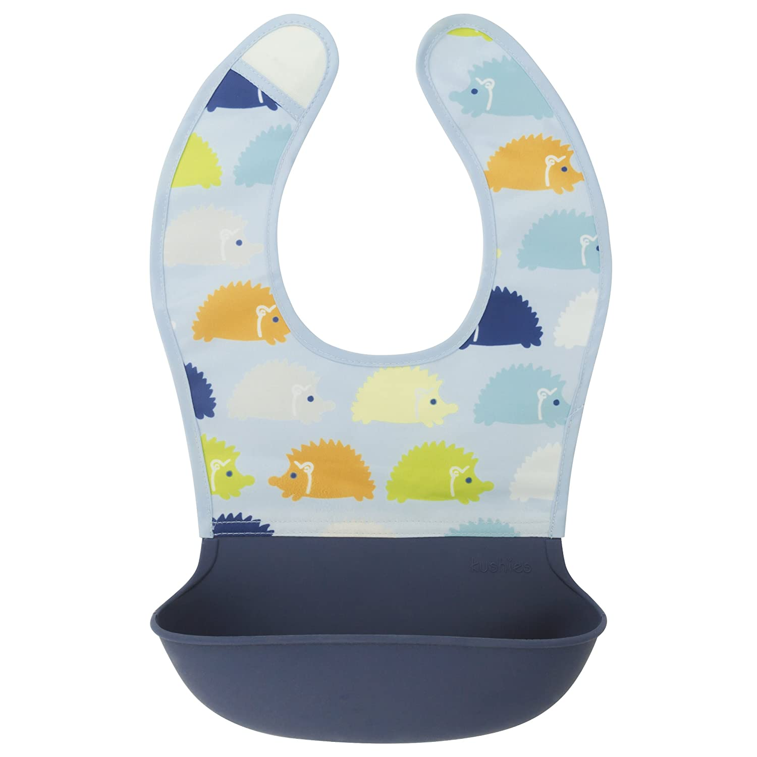 Kushies Silisoft Comfort Fabric Top, Silicone Pocket Waterproof Feeding Bib, Blue Hedgehogs, 6m+ Kushies Baby B305-B02