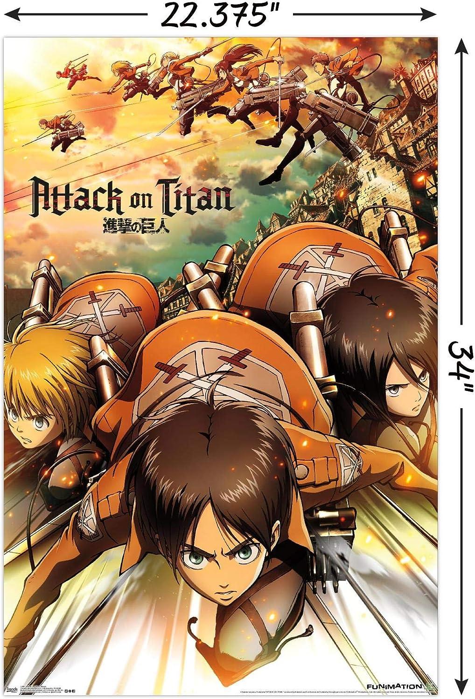 Trends International Attack on Titan Fire Wall Poster 22.375 x 34 Unframed Version