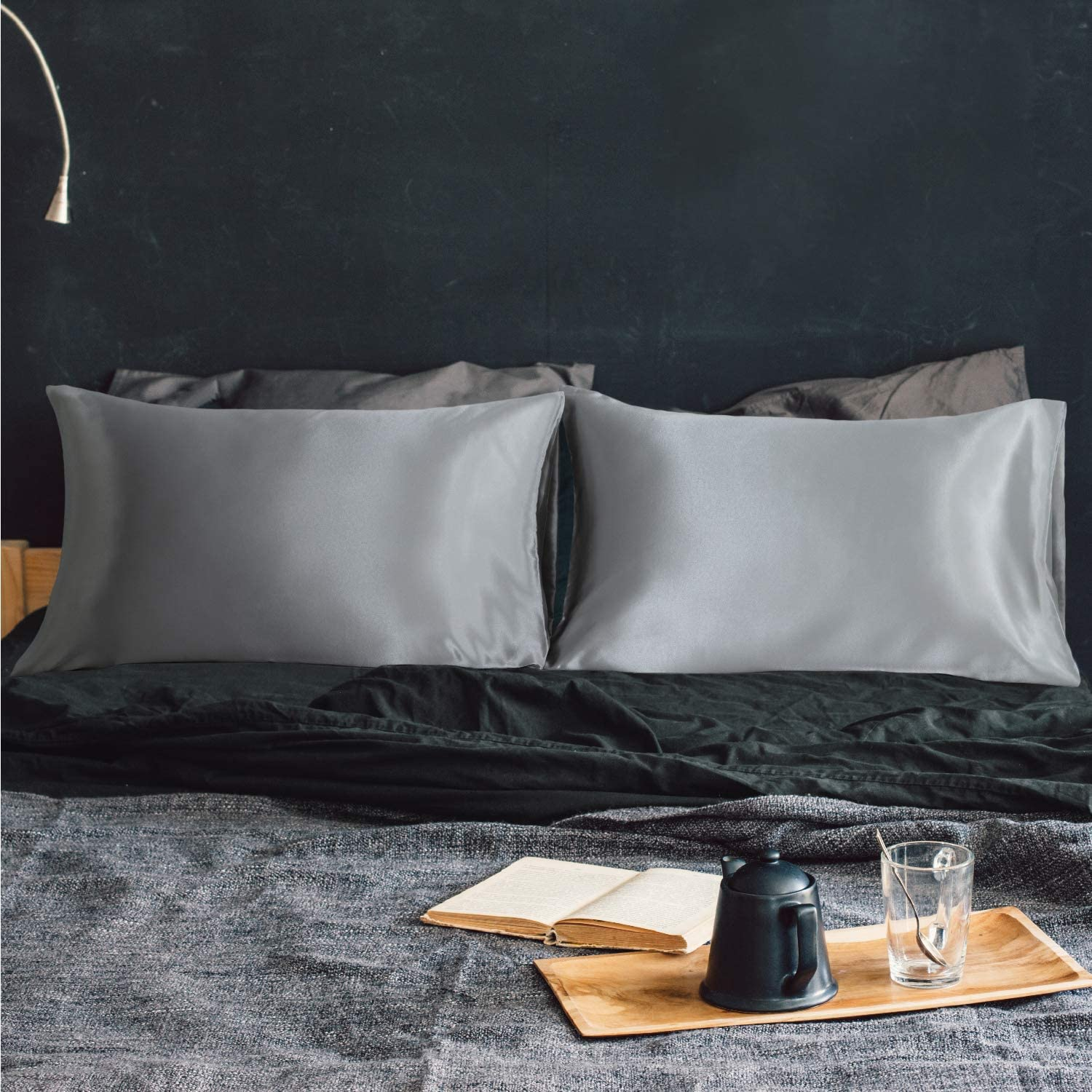 EXQ Home Satin Pillowcases Set of 2 for Hair and Skin Queen Size 20x30 Silver Pillow Case with Envelope Closure.
