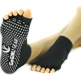Yoga Socks Toeless with Non Slip Grips Pilates Barre for Women Comfy Cozy by GoGIRL! GEAR (Cotton, 2pr, Black)