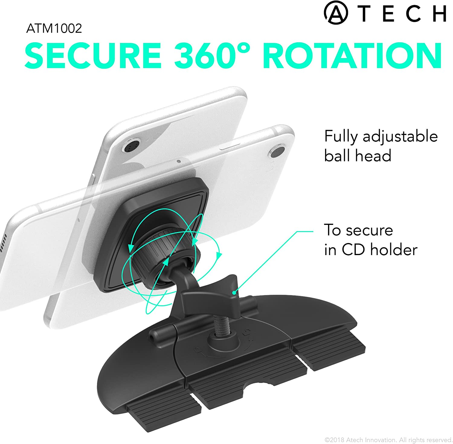 and Any Smartphone ATECH INNOVATION ATM1002-BLK ATECH Magnetic CD Slot Car Mount CD Player Adjustable Phone Holder for iPhone X//8//8plus//7//7plus Galaxy S9//S9plus//Note 8//S8//S8plus//S7