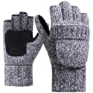 JOYEBUY Men Winter Warm Wool Knitted Convertible Fingerless Gloves With Mitten Cover