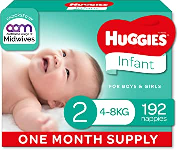 HUGGIES Ultimate Infant Nappies Unisex Size 2 (4-8kg), 192 count, One-Month Supply, (Packaging May Vary)