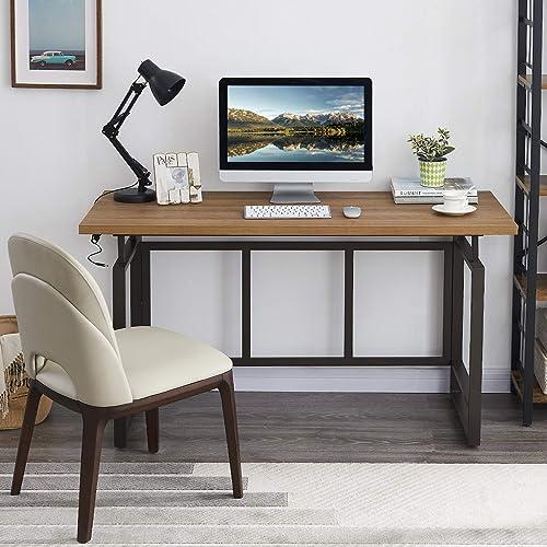 OIAHOMY Home Office Desk,Industrial Computer Desk 55 Large Rustic Office Desk Workstation Study Writing Desk Vintage Laptop Table - the best modern office desk for the money
