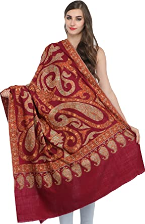 5142b9bd35 Exotic India Cordovan-Red Kashmiri Pure Pashmina Shawl with Sozni ...