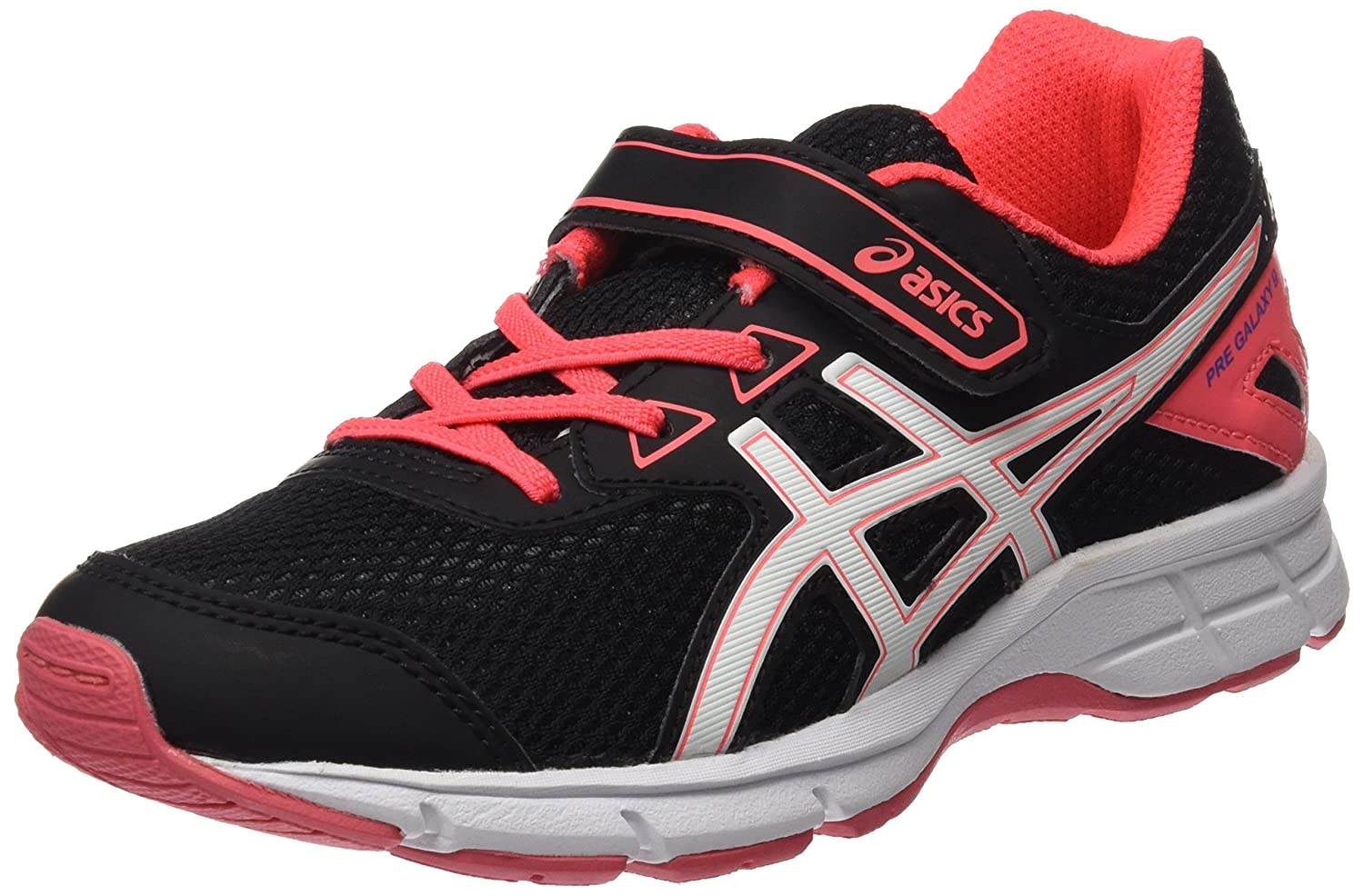 Asics SS17 Junior Galaxy 9 PS Velcro Running Shoes - Neutral - Black/Pink - UK 1