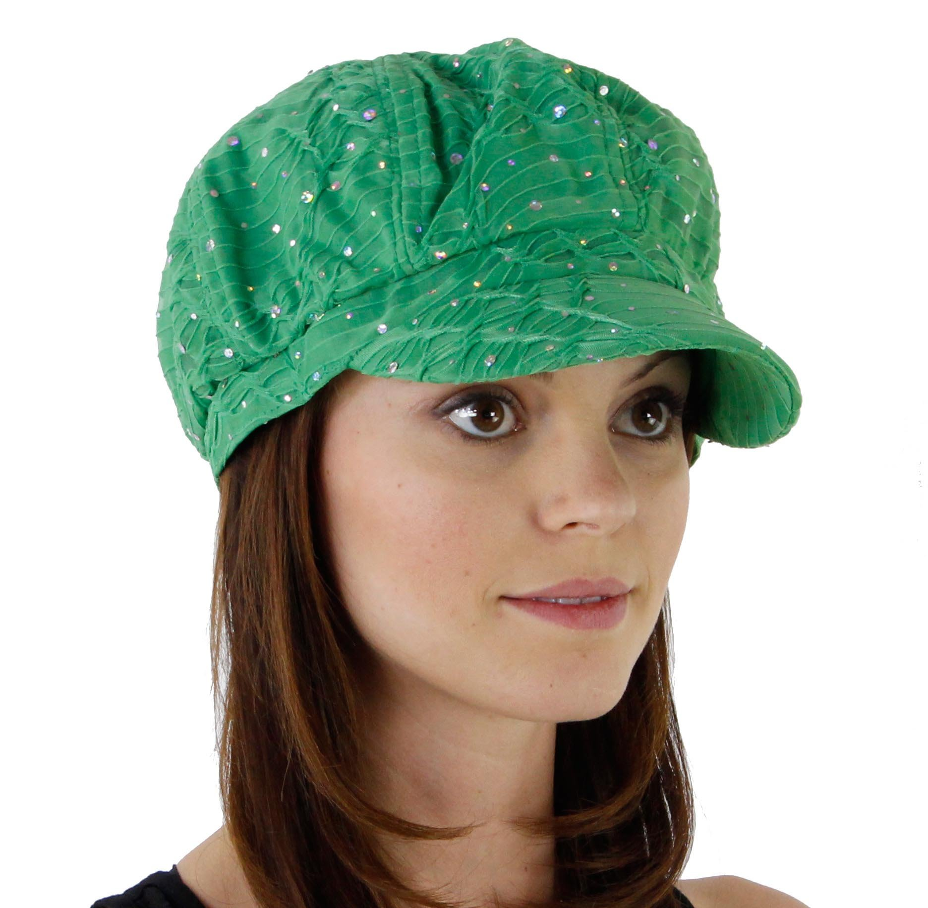 Greatlookz Fashion Glitter Sequin Trim Newsboy Style Relaxed Fit Cap, Green