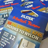 Silstar Match Team 24 (4 packs of 6) K74S Spade End - Extra Wide Gape XXTRA STRONG Barbless Fishing Hooks to Nylon - Available in size 10, 12, 14 and 16