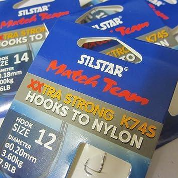 silstar match team extra strong hooks to nylon k83e size 14-6 hooks per pack.