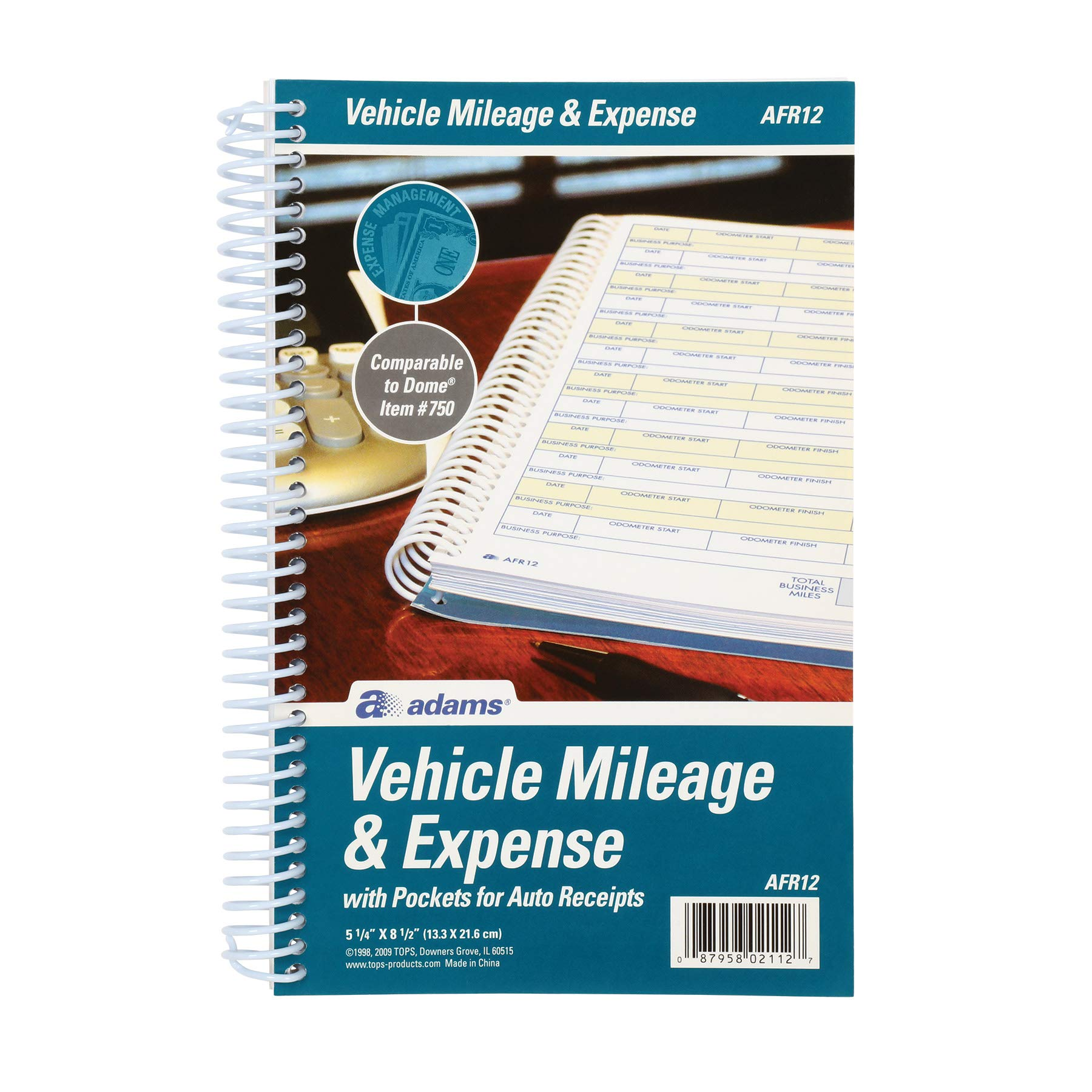 Adams Vehicle Mileage and Expense Journal, 5-1/4'' x 8-1/2'', Fits the Glove Box, Spiral Bound, 588 Mileage Entries, 6 Receipt Pockets, (AFR12)
