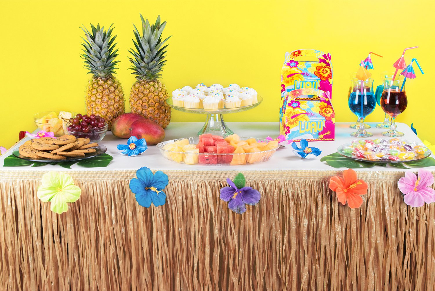 Hawaiian Luau Hibiscus Natural Color String & Colorful Sproilk Faux Flowers Table Hula Grass Skirt for Party Decoration, Events, Birthdays, Celebration (1 Pack) by Super Z Outlet (Image #2)