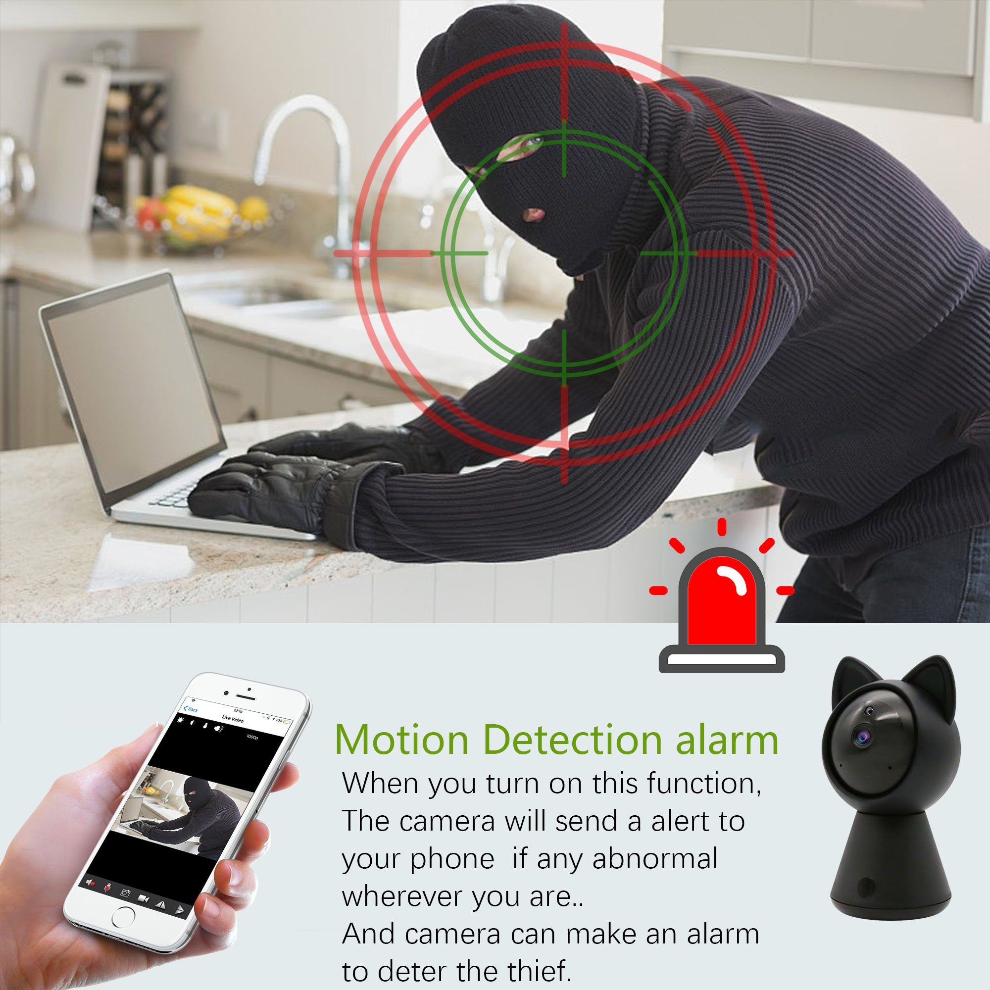 Pet IP Camera WiFi Cam HD 1080P Cute Cat camera Home Security Surveillance Wireless System Dome Camera Nanny Baby Cam Indoor Monitor Pan/Tilt with Night Vision 2-Way Audio Motion Detection alarm B by LUFASA (Image #5)