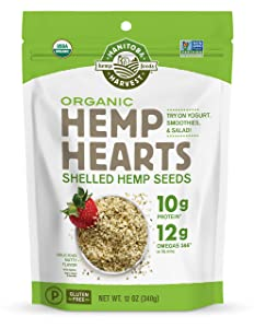 Manitoba Harvest Organic Hemp Hearts Raw Shelled Hemp Seeds, 12 Ounce (Pack of 1); with 10g Protein & 12g Omegas per Serving, Non-GMO, Gluten Free