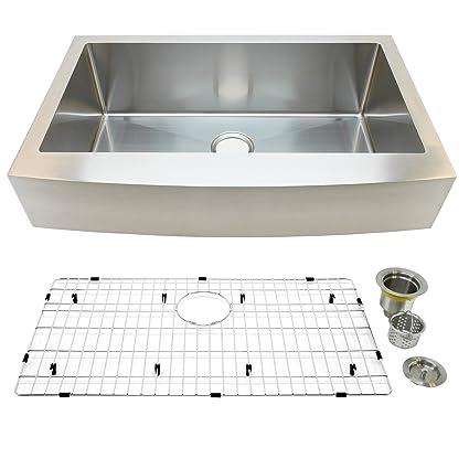 Auric Sinks 36u0026quot; Retro Fit Short Apron Farmhouse Curved Front Single  Bowl Sink,