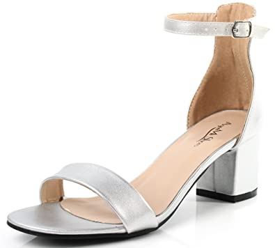 191cdd2fe449f4 AgeeMi Shoes Women s Open Toe Ankle Strap Block Heel PU Sandals With  Buckle