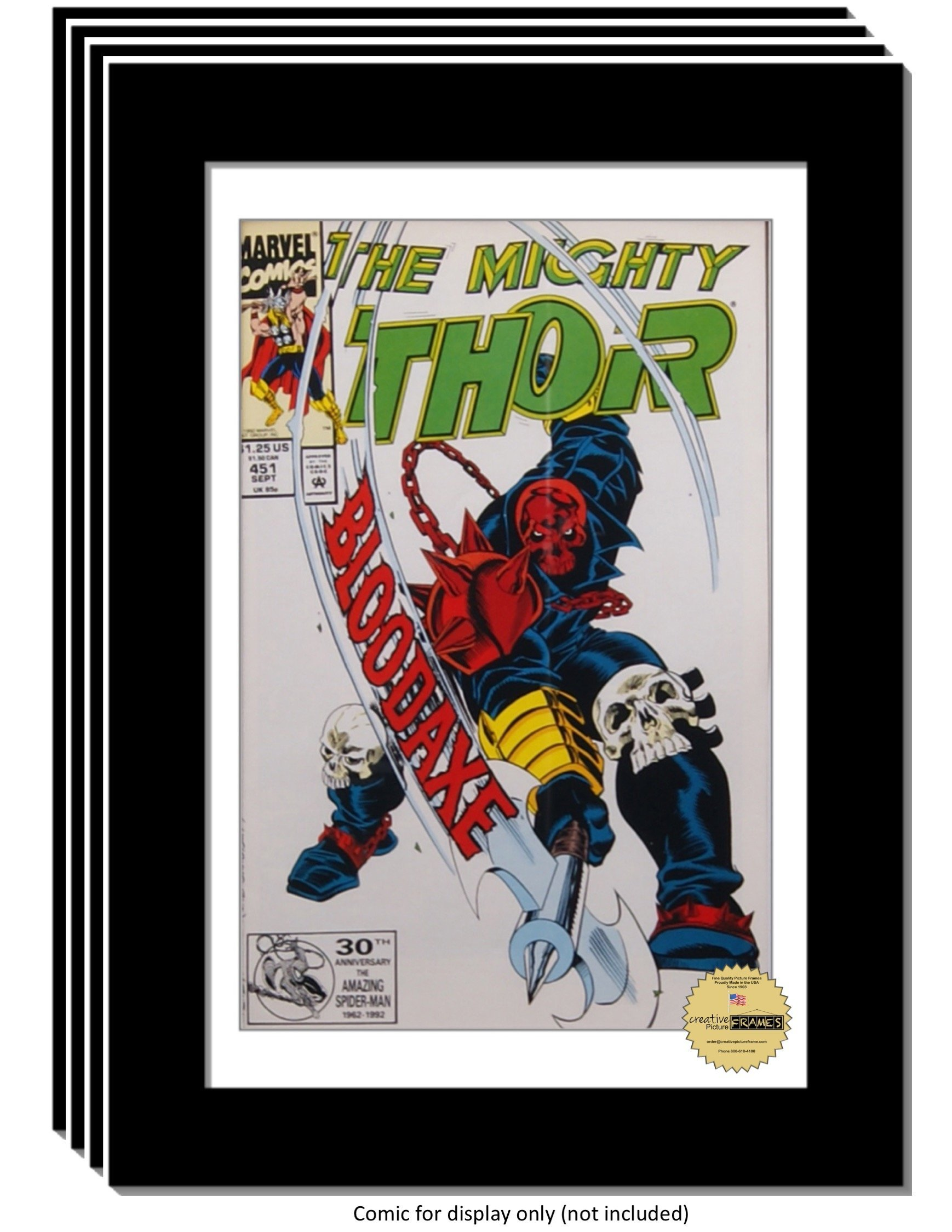 CreativePF [4pk8x12bk-w] Collectors Art Comic Book Frame with White Mat, Insert for 6.6x10.1 Comic w/ Easel Stand and Wall Hanger (4-Pack)