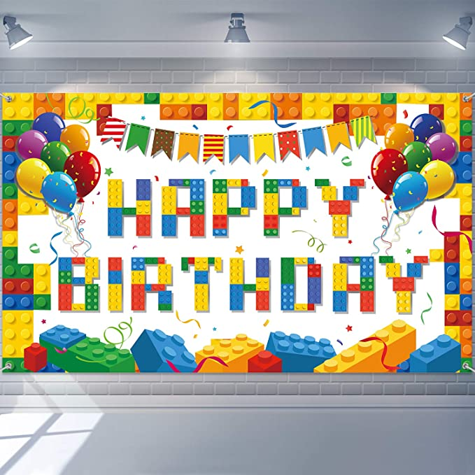 Colorful Building Blocks Birthday Backdrop Blocks Photography Birthday Backdrop Children's Birthday Party Decorations Building Blocks Theme Party Supplies for Party Decorations Pictures