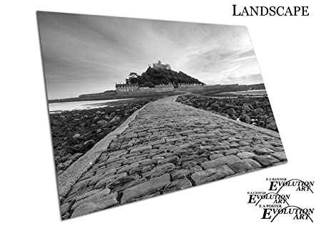 black white print on canvas st michael s mount near penzance in