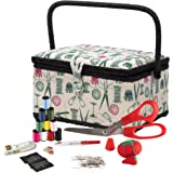 SINGER 07271 Basket with Sewing Notions Kit & Removable Tray-Vintage Spools, Tan