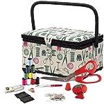 SINGER 07271 - Cesta con kit de notas de costura y bandejas extraíbles, diseño clásico, color verde, café y rosa