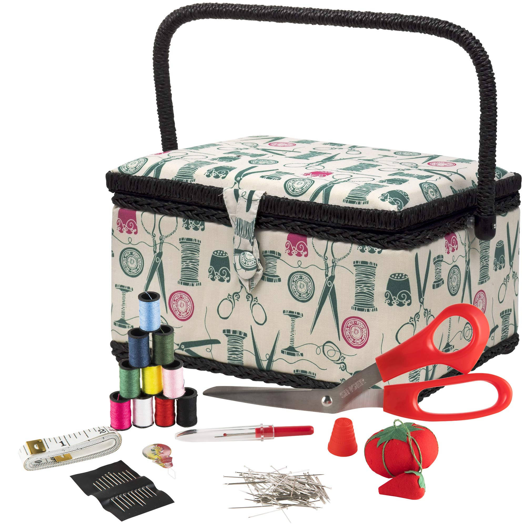 SINGER 07271 Basket with Sewing Notions Kit & Removable Tray-Vintage Spools, Tan by SINGER