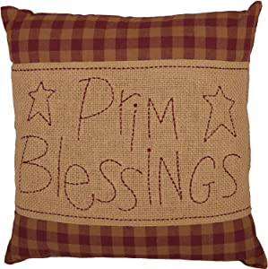 VHC Brands Burgundy Check Prim Blessings Filled Decorative Country Cotton Burlap Throw Pillow 12x12 Bedding Accessory, Red