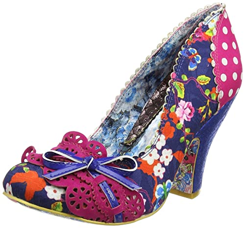 Irregular Choice - Zapatos de tacn con Punta Cerrada de Material Sintético Mujer, Color Azul, Talla 38