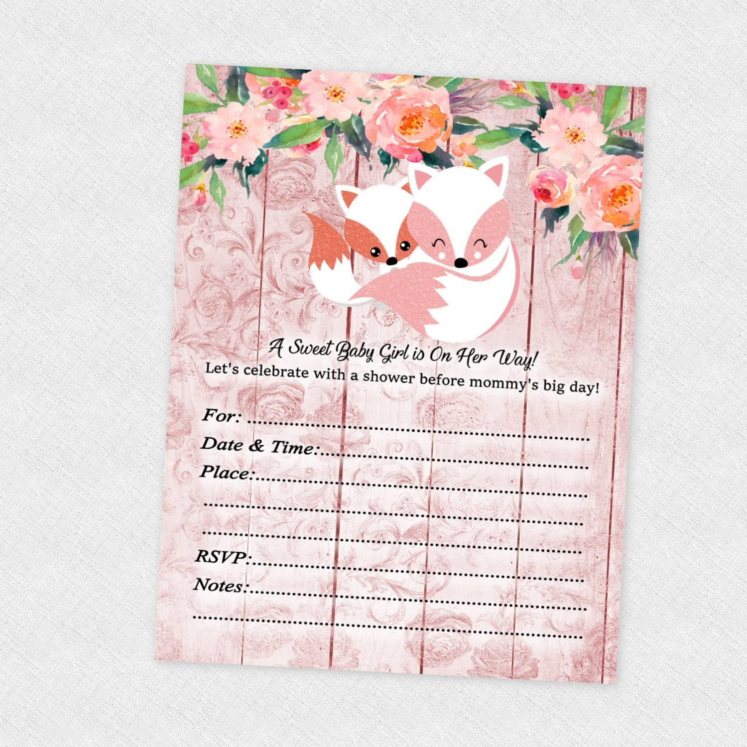 Pink Fox Girl Woodland Baby Shower Invitations 20 count with envelopes