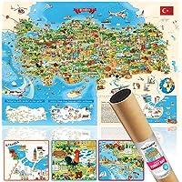 Kültürel Eğitici Öğretici UNESCO Turistik Yerler Karikatür Türkiye Haritası Dev Boy 70x100