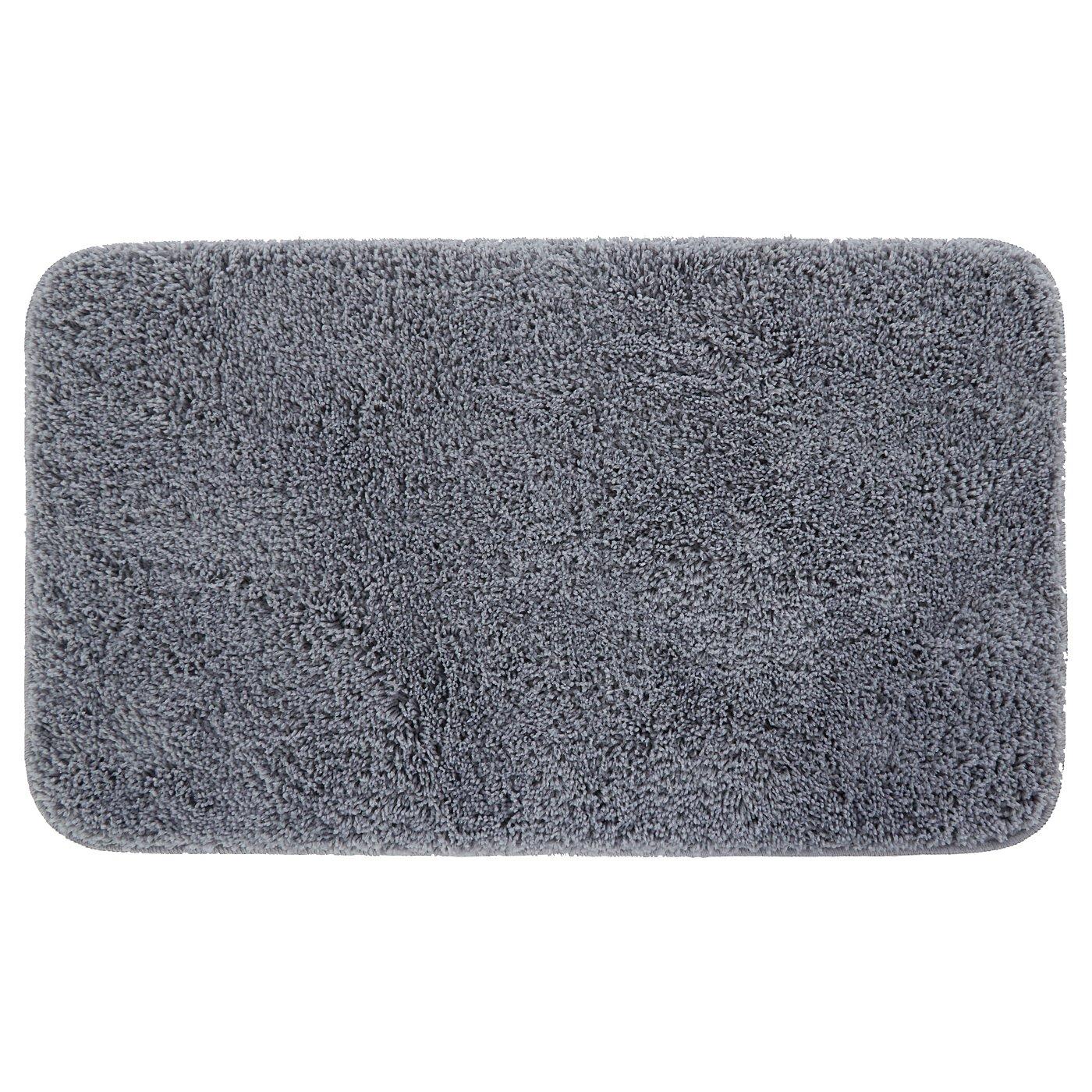 Microfiber Anti slip Rubber Backed Bath Mat - 50 x 80cm (Grey) Home Trends